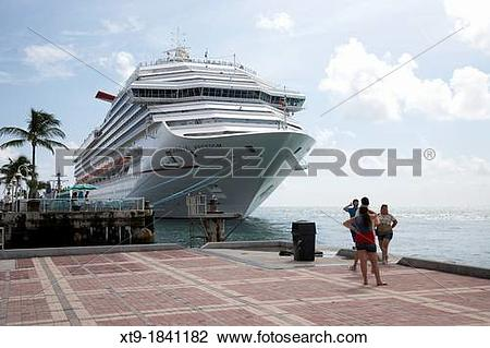 Stock Photo of carnival freedom cruise ship moored off mallory.