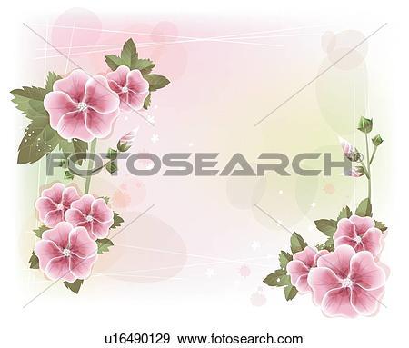 Clip Art of Summer flowers, flowers, Summer flower, Mallow flowers.