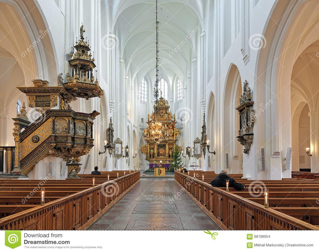 Altar Of Sankt Petri Kyrka, Malmö, Sweden Editorial Photo.