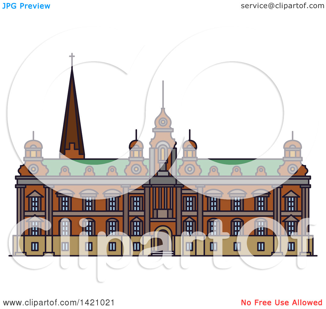 Clipart of a Sweden Landmark, Malmo Town Hall.