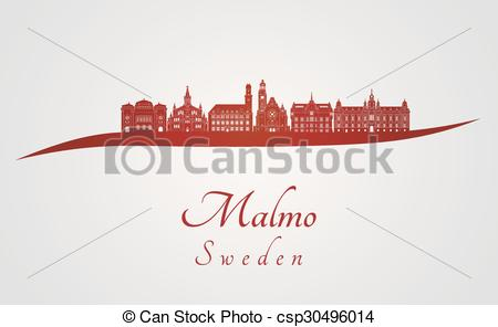 Vector Clip Art of Malmo skyline in red and gray background in.