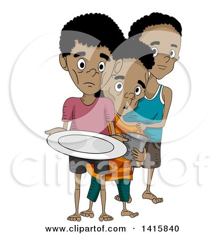 Clipart of Malnourished Boys in Line for Food.