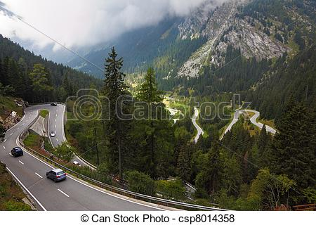 Stock Illustration of Cars on a steep mountain road turn in the.