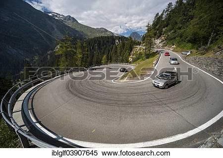 """Stock Image of """"Cars at the Maloja Pass, serpentines, winding road."""