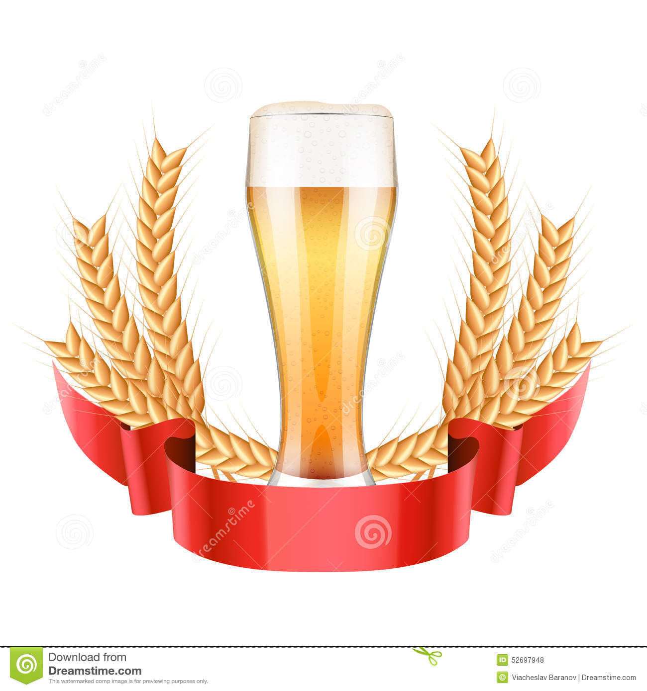 Brewery Label With Light Beer Glass And Malt Stock Vector.