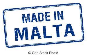 Clipart Vector of Malta blue square stamp csp39264654.