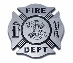 Details about Firefighter Maltese Cross Black Chrome Plated Metal Car Truck  Motorcycle Emblem.