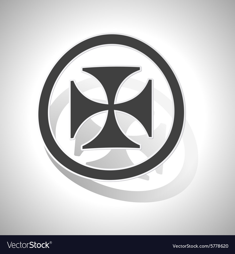Maltese cross sign sticker curved.