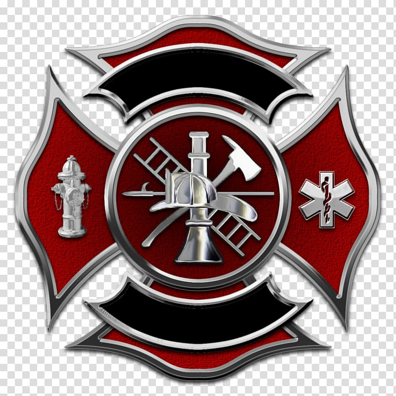 Red and gray firemen logo, Maltese dog Puppy Maltese cross.