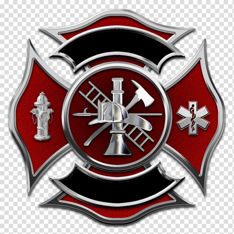 Red and gray firemen logo, Maltese dog Puppy Maltese cross.