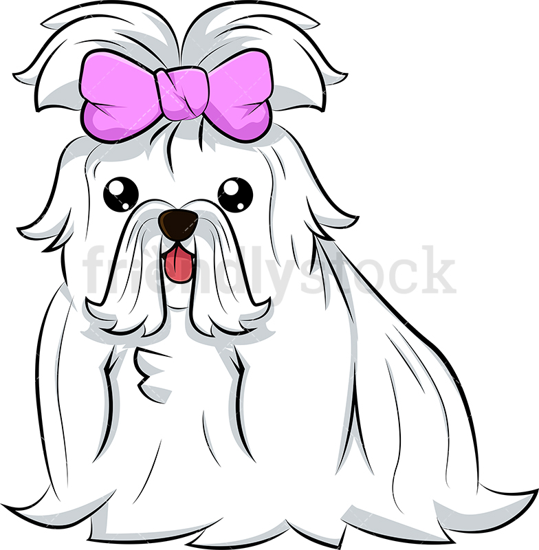 Cute Maltese Dog With Pink Bow.