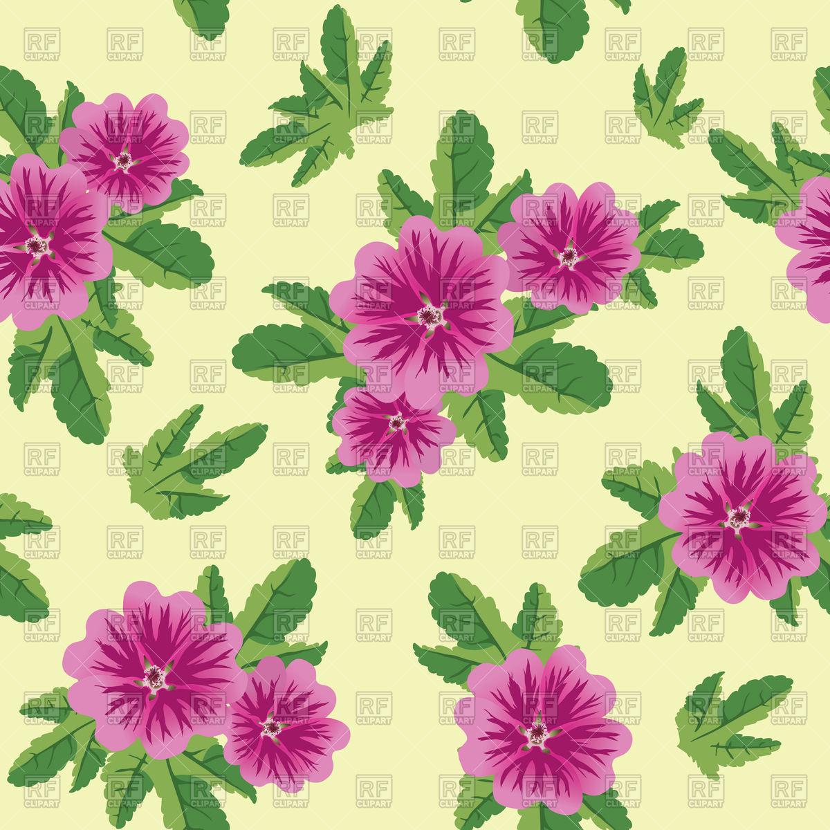 Seamless pattern with malva flowers Vector Image #75923.