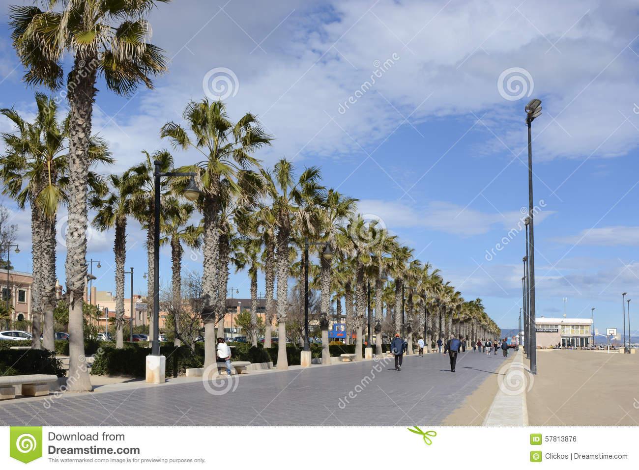 Malvarrosa Beach At Valencia. Spain Editorial Photo.