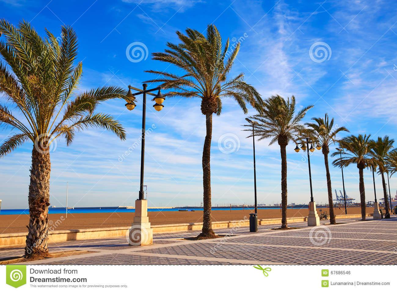La Malvarrosa Beach In Valencia, Spain Stock Photo.