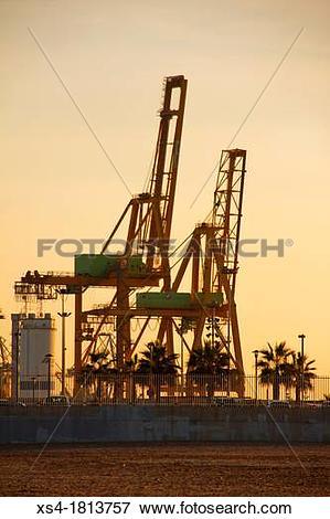 Picture of Port of Valencia from the Malvarrosa beach, Valencia.
