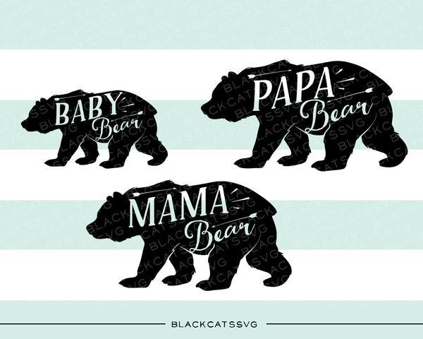 Bear family baby bear mama bear papa bear.