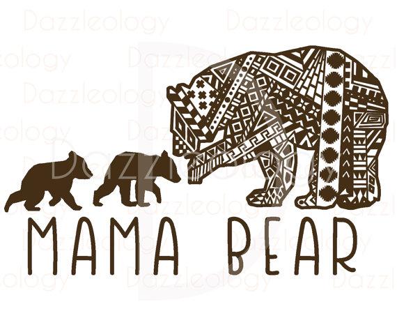 Mama Bear and Cubs Design Intricate Aztec Mehndi Tribal Zen.