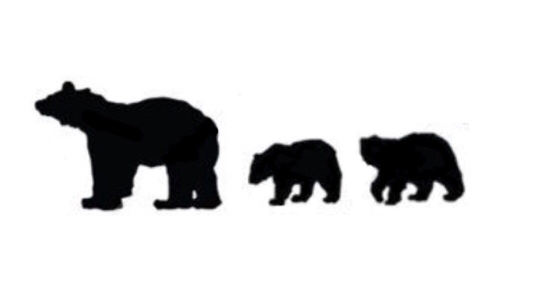 Mama Bear And Cub Silhouette.