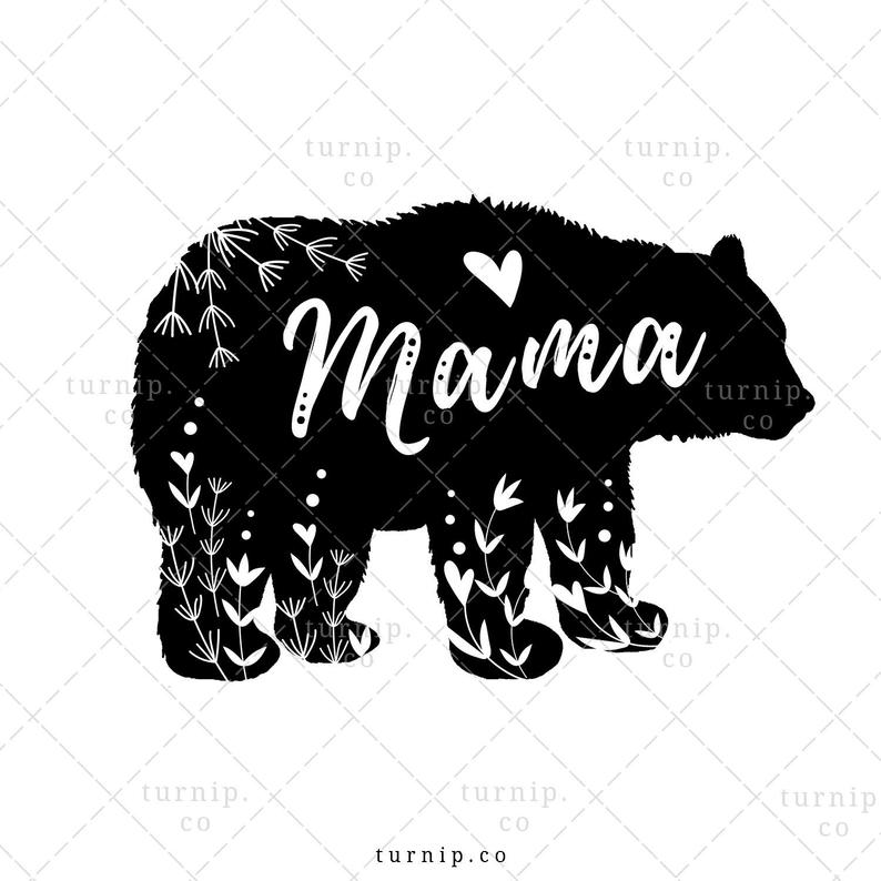 Mama Bear Clipart Sublimation Design Graphic, Instant Digital Download,  Commercial Use, Mothers Day, Wild, Flower, Black & White, Floral.
