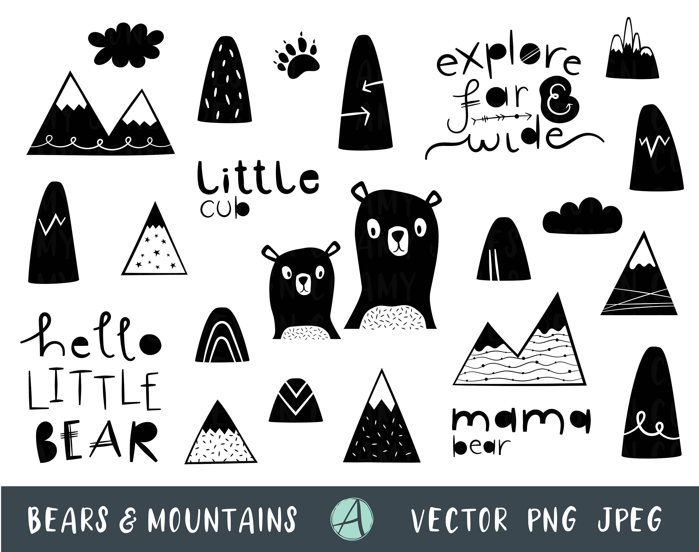 Monochrome Wilderness Clip Art, Black and White, Mama Bear, Scandi Nursery,  Woodland Creatures, Mountains Clip Art, Explorer Clipart.