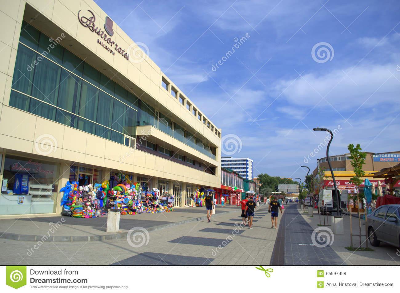 Mamaia Resort Promenade,Romania Editorial Stock Photo.