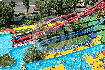 Aqua Magic Park In Mamaia Editorial Stock Photo.