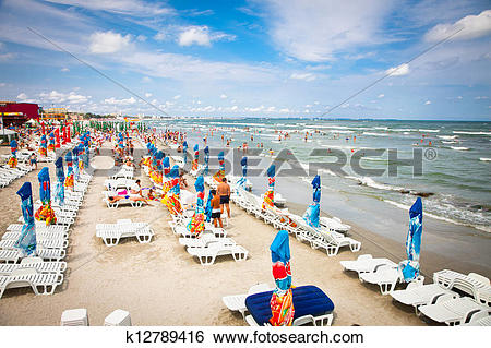 Stock Images of Crowded beach with tourists in Mamaia, Romania.