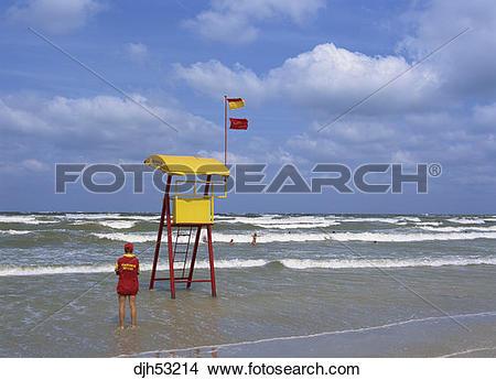 Stock Photo of Romania, Mamaia, Black Sea, Beach, Lifesaver.