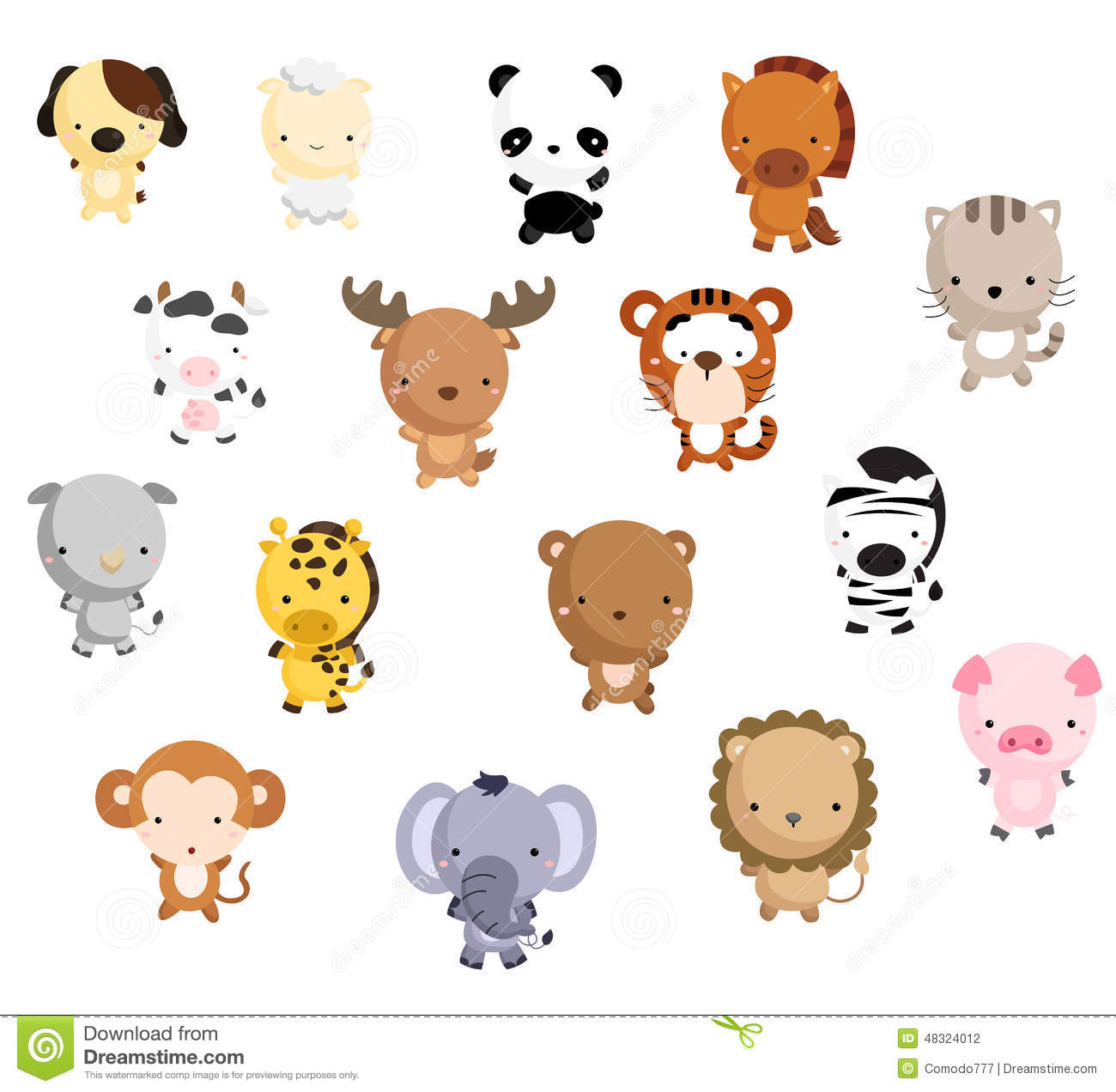 Mammal Vector Set Stock Vector.