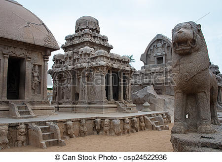 Stock Photos of Five rathas complex with in Mamallapuram, Tamil.