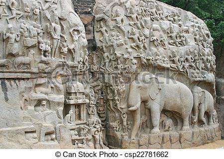 Stock Image of Mamallapuram Temple Tamil Nadu.