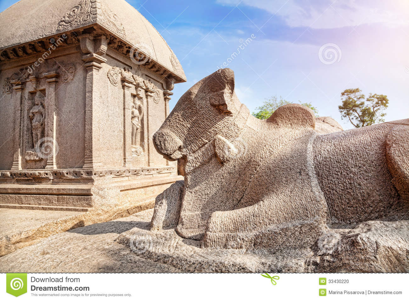 Bull Statue In Mamallapuram Stock Photo.