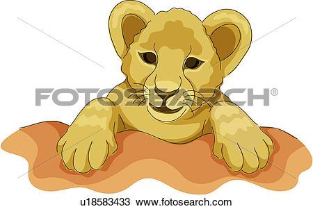 Clipart of lion, animal, land animal, mammal, vertebrate, wild.