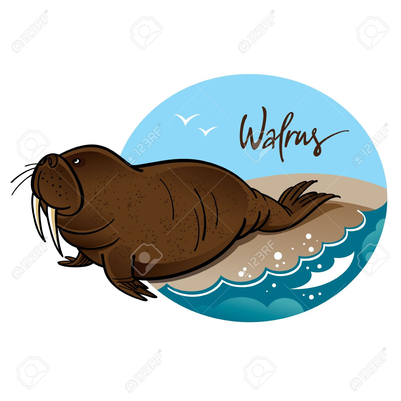 Walrus Animal Nature Sea Rock Wave Mammal Royalty Free Cliparts.