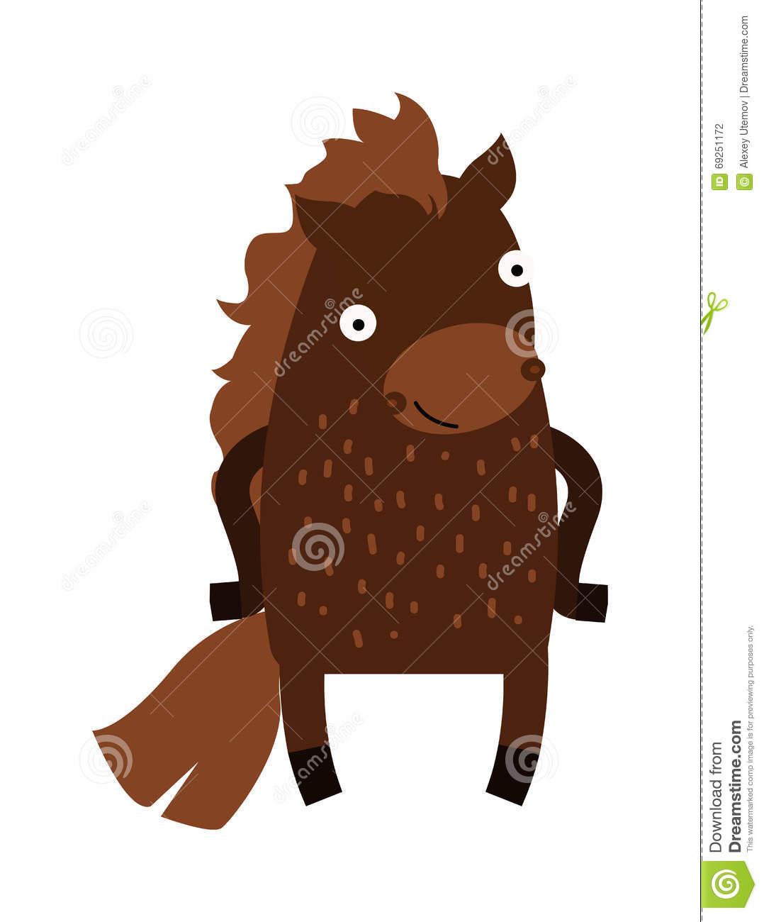 Cute Cartoon Horse Farm Animal Mammal Character Clip Art Vector.
