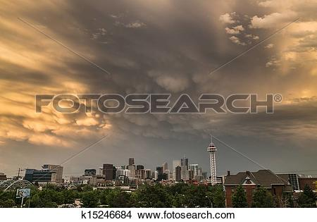 Stock Photo of Mammatus Clouds Over Denver k15246684.