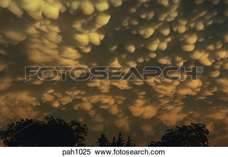 Stock Image of Mammatus clouds, only seen in association with.