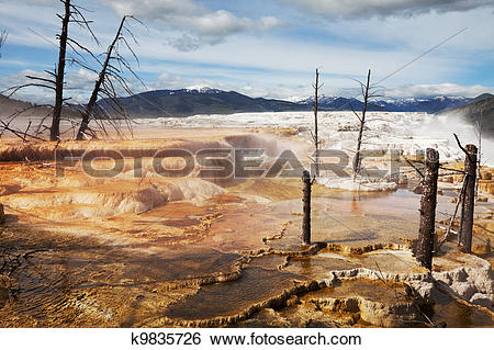 Stock Images of Mammoth Hot Spring k9835726.