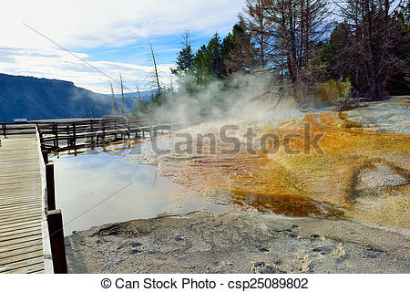 Stock Photography of Walkway through Mammoth Hot Springs area of.