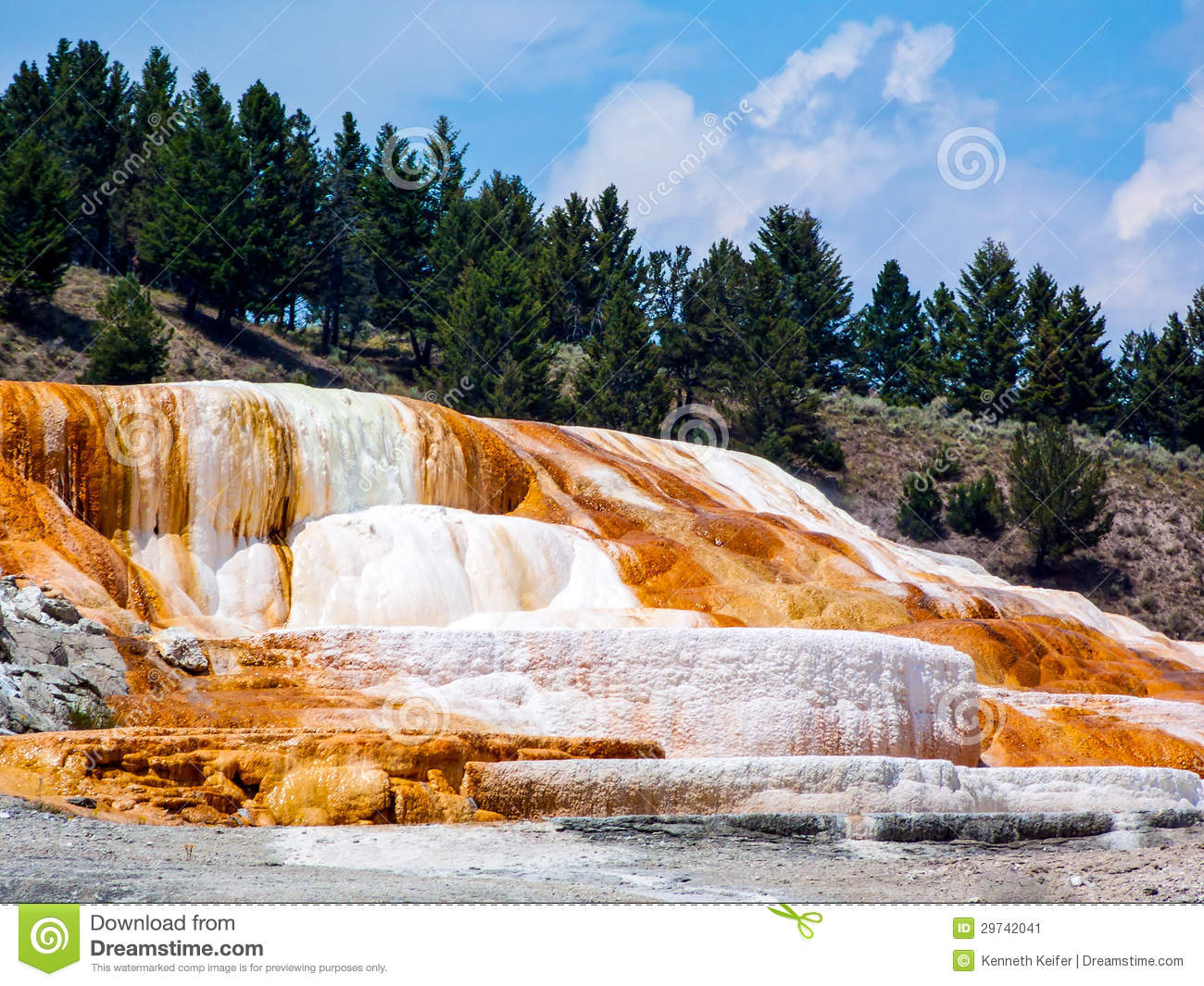Terraced Limestone At Mammoth Hot Springs Stock Image.
