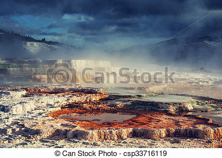 Stock Photography of Mammoth Hot Springs in Yellowstone NP, USA.