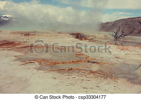 Picture of Mammoth Hot Springs in Yellowstone NP, USA csp33304177.