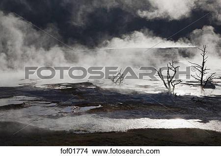 Stock Photo of USA, Wyoming, Yellowstone National Park, Mammoth.