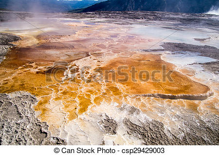 Stock Photography of Orange thermal pools at Upper Terrace of.