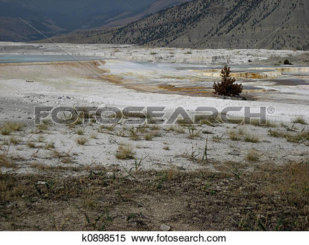 Stock Image of Mammoth Hot Springs k0898515.