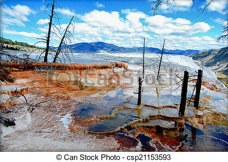 Stock Photographs of Hot waters of Canary Spring of the Mammoth.