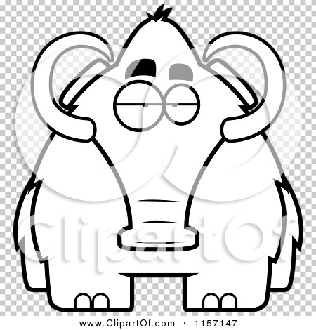 Cartoon Clipart Of A Black And White Woolly Mammoth.