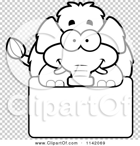 Cartoon Clipart Of A Black And White Happy Wooly Mammoth Over A.