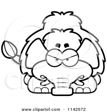 Cartoon Clipart Of A Black And White Angry Wooly Mammoth.