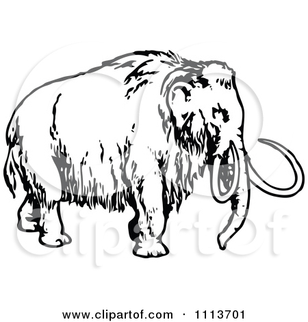 Clipart of Retro Vintage Black and White Mammoths in the Woods.
